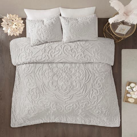 Madison Park Virginia Tufted Cotton Chenille Medallion Duvet Cover Set