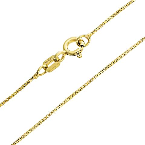 Box Chain Link 1 mm Thin 10 Gauge Necklace For Women 14K Gold Plated 925 Sterling Silver Made In Italy