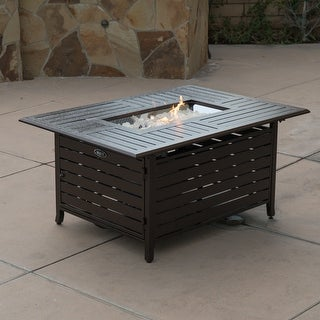 Belleze Elegant 40,000 BTU Rectangle Extruded Sturdy Aluminum Outdoor Propane Gas Fire Pit Table With Cover - Bronze