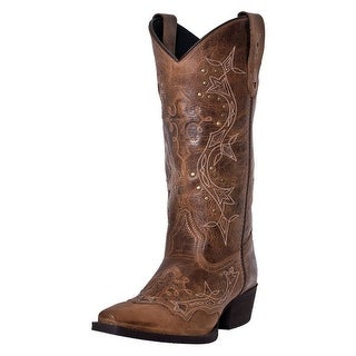 "Laredo Western Boots Womens Cross Point Cowboy 13"" Shaft Brown 52033"
