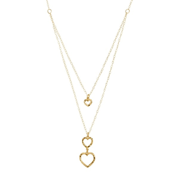 Eternity Gold Layered Textured Hearts Pendant in 10K Gold - Yellow