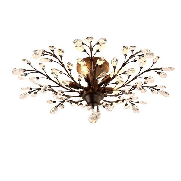 Industrial crystal K9 crystal ceiling light with rust finish. Opens flyout.