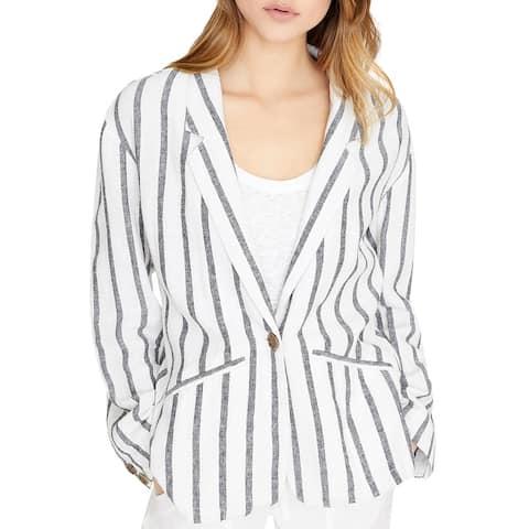 Sanctuary Womens Artist Blazer Linen Blend Striped - Black/White