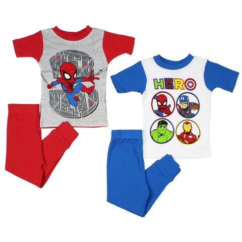 Marvel Super Hero Toddler Boys' Spiderman Web Head And Avengers 4-Piece Cotton Pajama Set