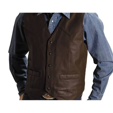 Roper Western Vest Mens Leather Chocolate Brown