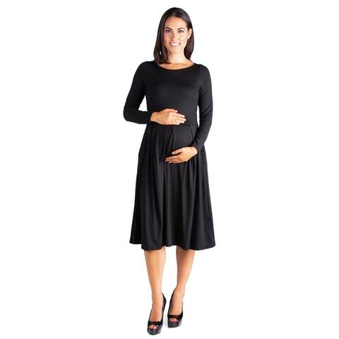 24seven Comfort Apparel Long Sleeve Maternity Midi Dress