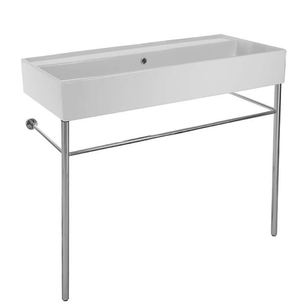 "Nameeks 8031/R-100B-CON Scarabeo 39 2/5"" Ceramic Trough Style Bathroom Sink For Console Installation"