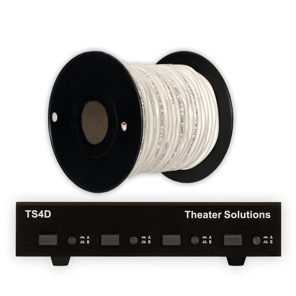 Theater Solutions TS4D Dual Input 4 Zone Speaker Selector Box & C100-14-2 Wire