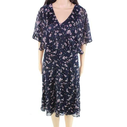 Lauren by Ralph Lauren Women's Metallic Blue Size 16 Sheath Dress