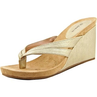 Style & Co Cassiee Women Open Toe Synthetic Gold Wedge Sandal