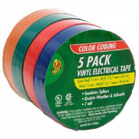 Duck 07205 Vinyl Electrical Tape, Assorted, 5-Pack