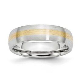 Chisel Cobalt Chromium 14k Gold Inlay Satin 6mm Band