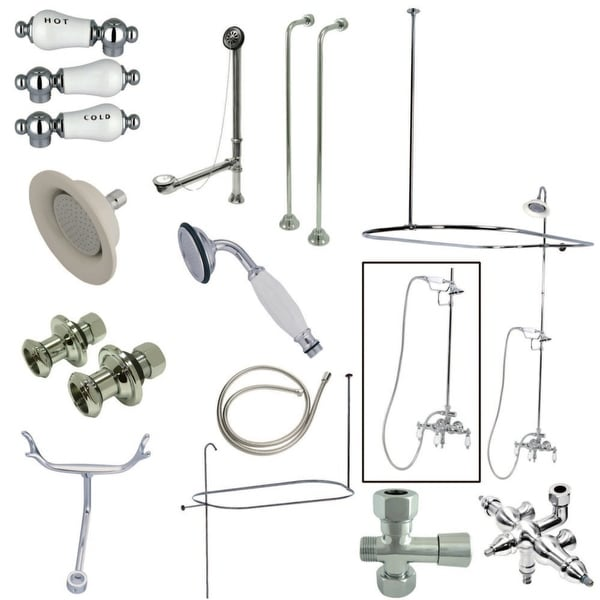 Kingston Brass CCK314.HCPL Vintage Wall Mounted Clawfoot Tub Filler and Shower Enclosure Kit - Polished Chrome