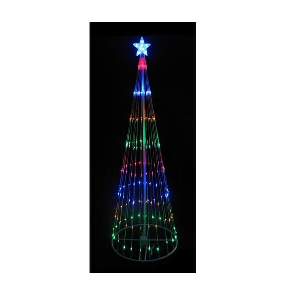 4' Multi-Color LED Light Show Cone Christmas Tree Lighted Yard Art Decoration - multi