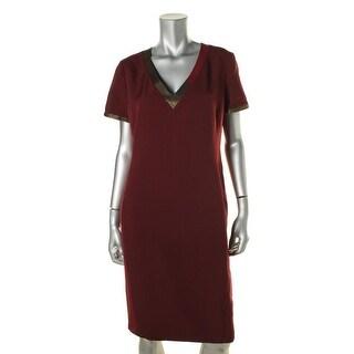 Anne Klein Womens V-Neck Short Sleeves Wear to Work Dress - 10