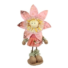 "21.5"" Pink Tan and Light Green Spring Floral Standing Sunflower Girl Decorative Figure"