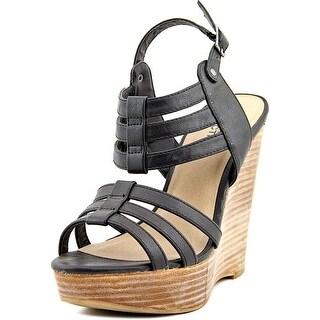Kenneth Cole Reaction Far Bend 2 Women Open Toe Synthetic Black Wedge Sandal