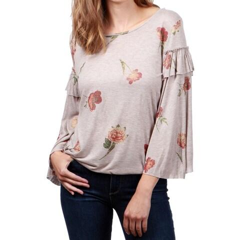Lucky Brand Brown Women's Size XL Floral-Print Ruffle Blouse