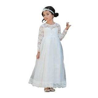 Little Girls Ivory Lace Tulle Open Back Floor Length Flower Girl Dress