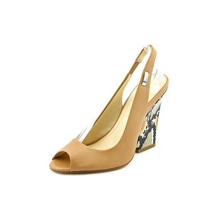 Calvin Klein Caralee Women Open-Toe Leather Tan Slingback Sandal