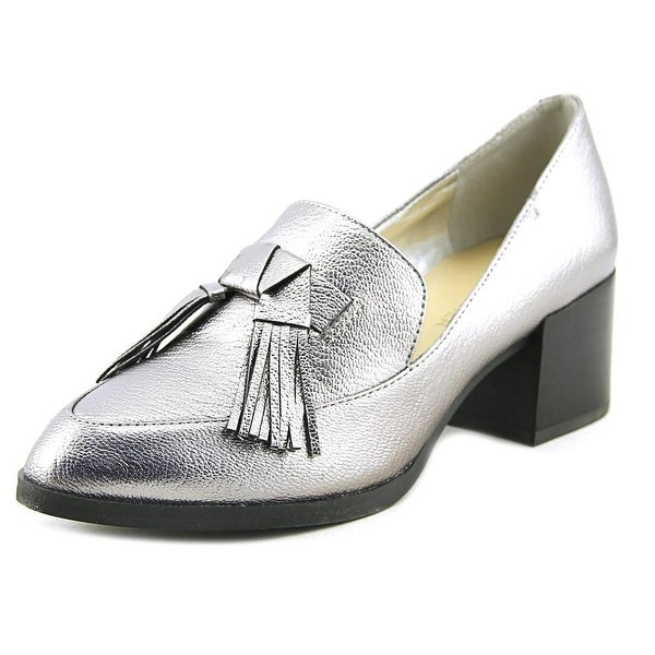 Marc Fisher Phylicia Women Round Toe Leather Silver Heels
