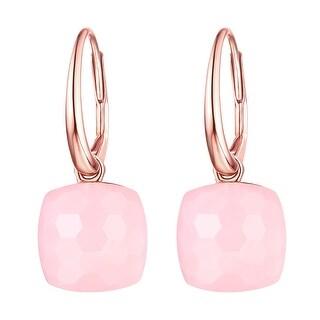 Vedantti Magic Honeycomb Cut Pink Opal Gemstone Angel Leverback Earring