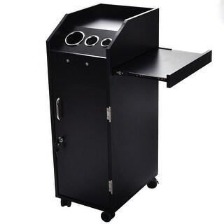 Costway Black Beauty Salon Spa Rolling Trolley 4 Storage Trays &Locking Door Equipment