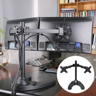 Costway Adjustable Computer Monitor Desk Mount for Dual LCD Flat Screen Monitor V Stand