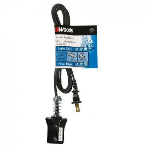 Woods 0291 Household Appliance Cords, 6', Black