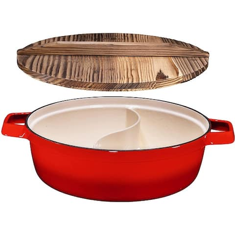 Non-Stick 2-In-1 Cast Iron Enameled Shabu Shabu Hot Pot with Wooden Lid  Heavy Duty 5 Quart