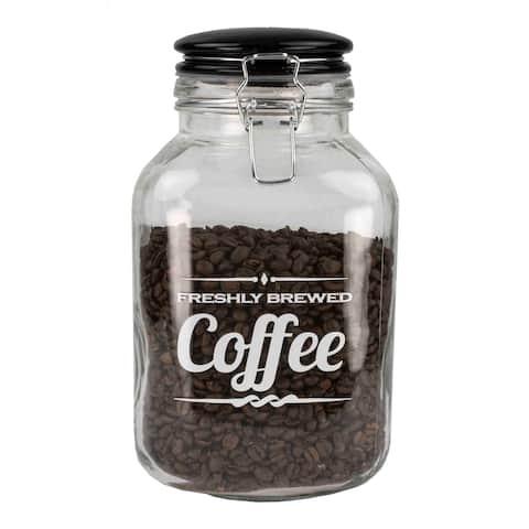 Home Basics Glass 0.8-gallon Jar with Ceramic Flip Lid Top - Black