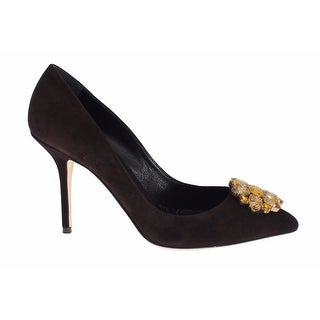 Dolce & Gabbana Brown Suede Crystal Heels Pumps - 39