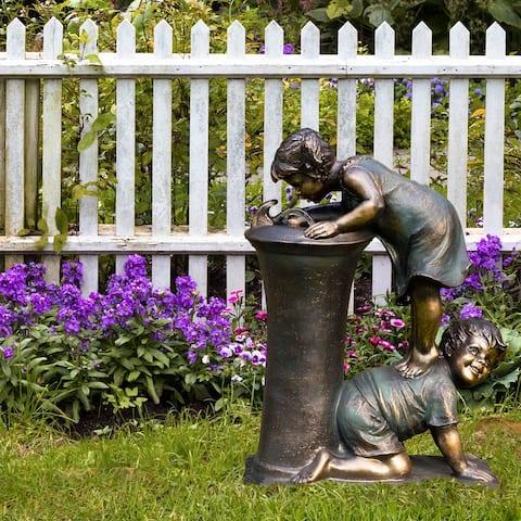Alpine 27-Inch Indoor/Outdoor Girl and Boy Drinking Water Fountain