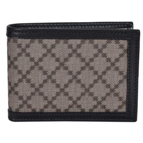 """Gucci Men's 233157 Black Beige Diamante Canvas Mini GG Guccissima Wallet - 4"""" x 3"""""""