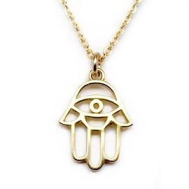 "Julieta Jewelry Hamsa Hand Gold Charm 16"" Necklace"