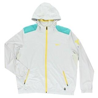 Nike Mens Kobe Lightweight Basketball Hoodie Light Grey - light grey/aqua blue/yellow - XxL