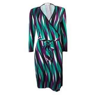 Calvin Klein Women's Surplice Belted 3/4 Sleeves Faux Wrap Dress - 12