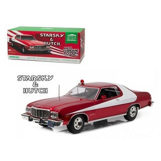 1976 Ford Gran Torino Starsky and Hutch Red Chrome Edition (TV Series 1975-79) 1/18 Diecast Model Car by Greenlight