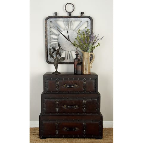 Traditional 32 x32 Inch 3-Drawer Rectangular Trunk Chest by Studio 350