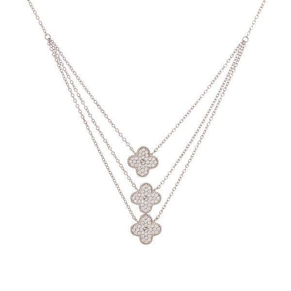 Cubic Zirconia & Sterling Silver Triple Clover Pendant Necklace