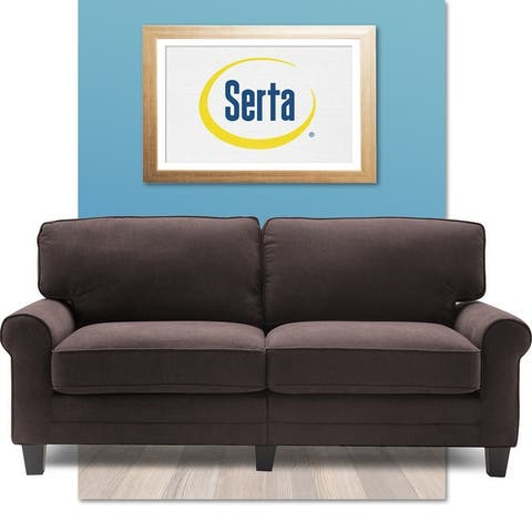 """Serta Copenhagen 73"""" Sofa Couch for Two People, Pillowed Back Cushions and Rounded Arms, Durable Modern Upholstered Fabric"""