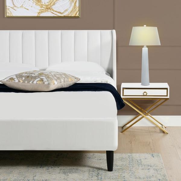 Strick & Bolton Aphrodite Upholstered Velvet Tufted Platform Bed. Opens flyout.