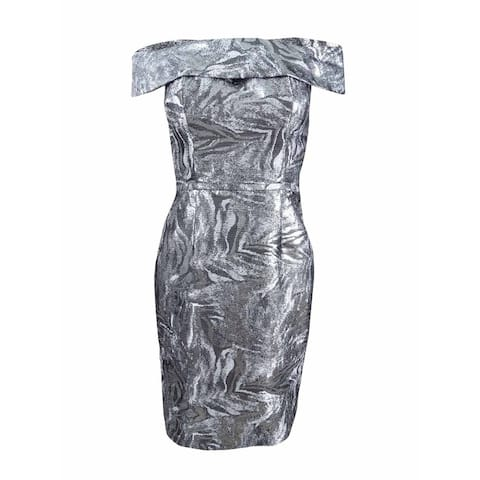 dfe3bf68 Calvin Klein Women's Brocade Off-The-Shoulder Sheath Dress - Silver/Black