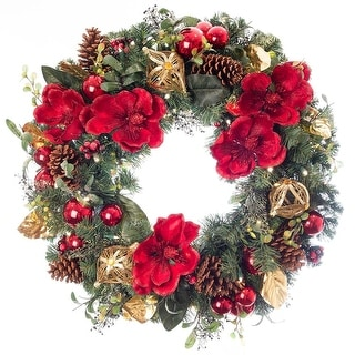 Link to Village Lighting 30 in. Pre-Lit LED Wreath - Red Magnolia Similar Items in Christmas Decorations