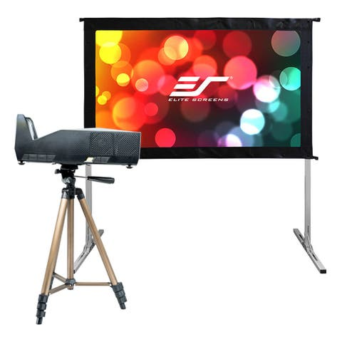 "Elite Screens Movie Night Bundle Yard Master 2 58"" Outdoor Projector Screen with MosicGO Ultra Short Throw Projector"