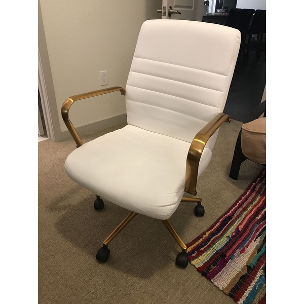 3a4d763f4 ... OSP Home Furnishings Baldwin Mid-Back Faux Leather Chair with Gold  Finish Arms and Base ...