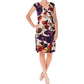 Lauren Ralph Lauren Womens Petites Surplice Ruched Wear to Work Dress