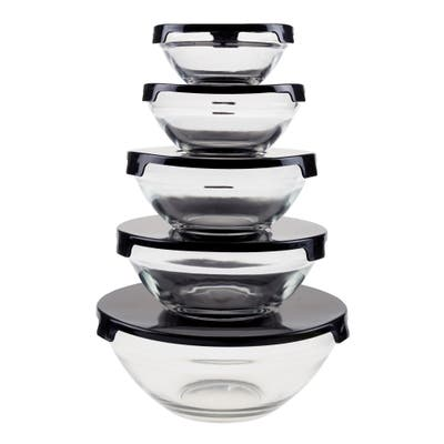 Glass Food Storage Containers with Snap Lids- 10 Piece Set with Multiple Bowl Sizes by Chef Buddy
