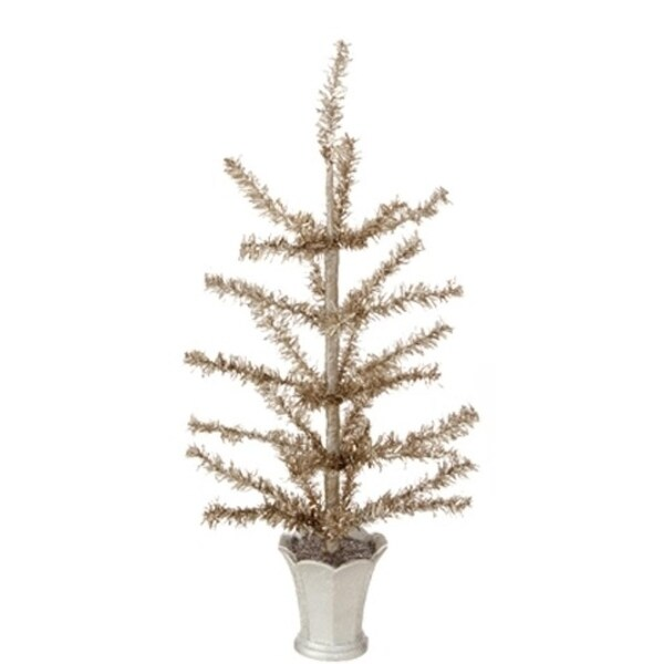 "12"" Winter Light Gilded Grey Artificial Christmas Tinsel Tree in Glittered Silver Pot - Unlit"