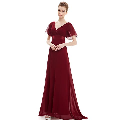 8db827e0725f Ever-Pretty Womens Elegant V-Neck Ruched Chiffon Formal Evening Prom Party  Dress 09890